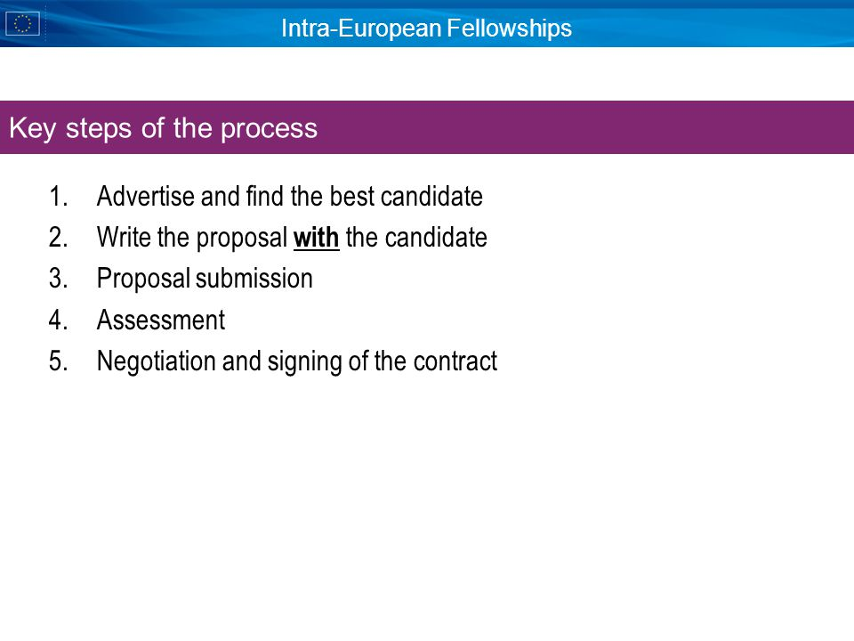 Intra-European Fellowships 1.Advertise and find the best candidate 2.Write the proposal with the candidate 3.Proposal submission 4.Assessment 5.Negotiation and signing of the contract Key steps of the process