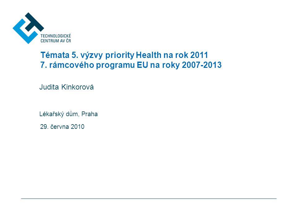Témata 5. výzvy priority Health na rok 2011 7.