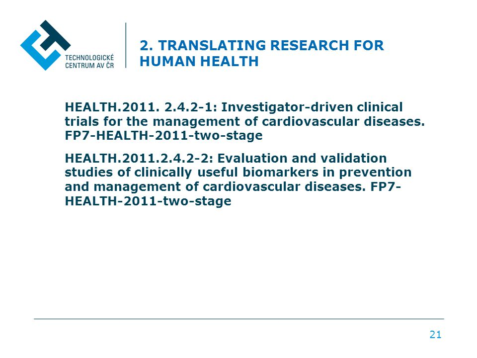 2. TRANSLATING RESEARCH FOR HUMAN HEALTH HEALTH.2011.