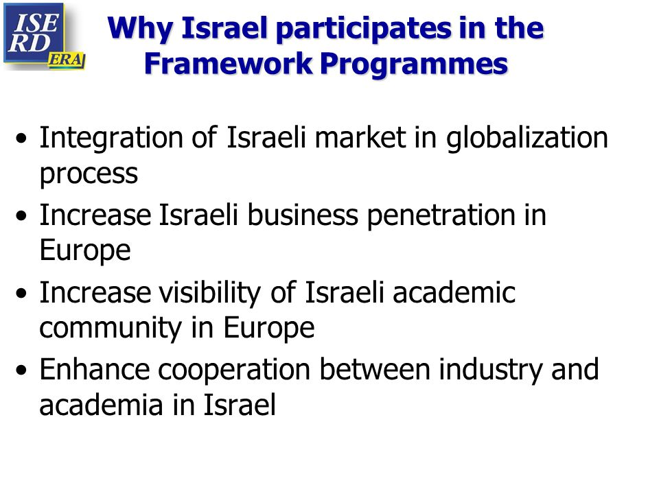 Why Israel participates in the Framework Programmes Integration of Israeli market in globalization process Increase Israeli business penetration in Eu