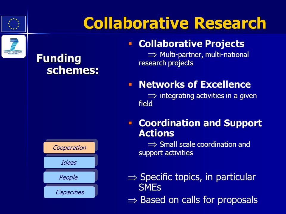 Cooperation Ideas People Capacities Collaborative Research Funding schemes:   Collaborative Projects  Multi-partner, multi-national research projec
