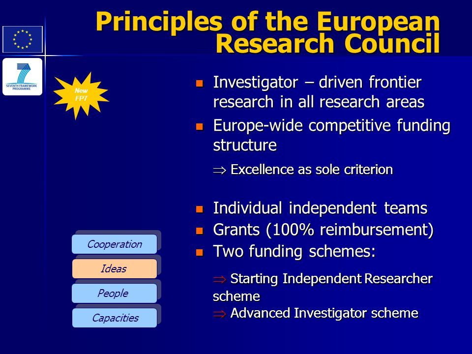 New FP7 Principles of the European Research Council Investigator – driven frontier research in all research areas Investigator – driven frontier resea