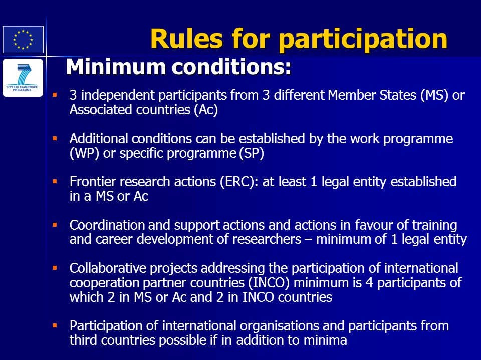 Minimum conditions: Rules for participation   3 independent participants from 3 different Member States (MS) or Associated countries (Ac)   Additi