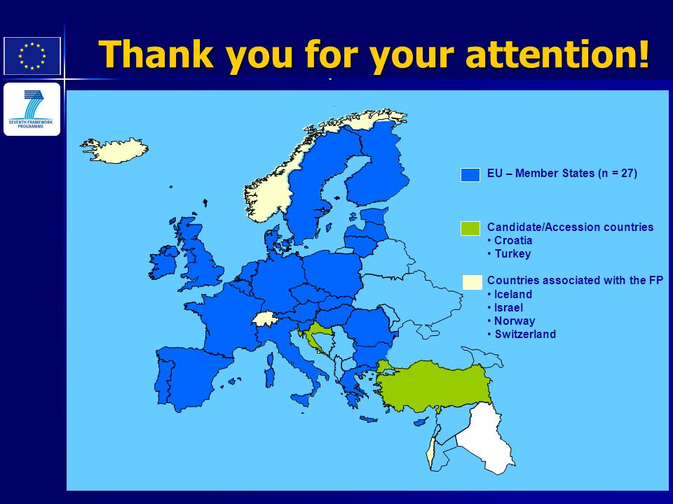 EU – Member States (n = 27) Candidate/Accession countries Croatia Turkey Countries associated with the FP Iceland Israel Norway Switzerland Thank you