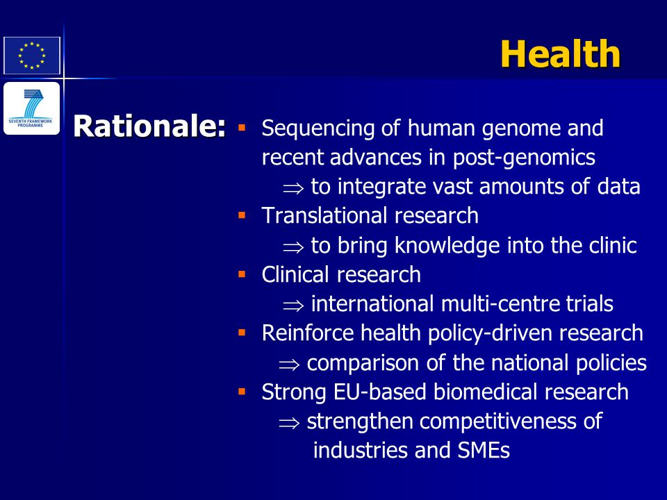 Rationale:   Sequencing of human genome and recent advances in post-genomics  to integrate vast amounts of data   Translational research  to bri
