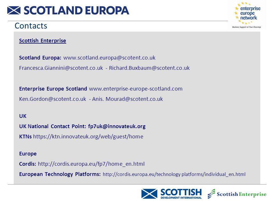 Contacts Scottish Enterprise Scotland Europa: www.scotland.europa@scotent.co.uk Francesca.Giannini@scotent.co.uk - Richard.Buxbaum@scotent.co.uk Enterprise Europe Scotland www.enterprise-europe-scotland.com Ken.Gordon@scotent.co.uk - Anis.