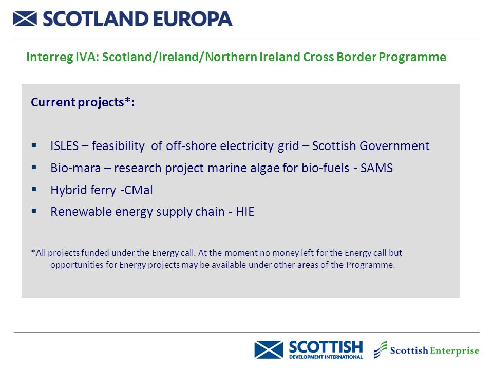 Interreg IVA: Scotland/Ireland/Northern Ireland Cross Border Programme Current projects*:  ISLES – feasibility of off-shore electricity grid – Scottish Government  Bio-mara – research project marine algae for bio-fuels - SAMS  Hybrid ferry -CMal  Renewable energy supply chain - HIE *All projects funded under the Energy call.