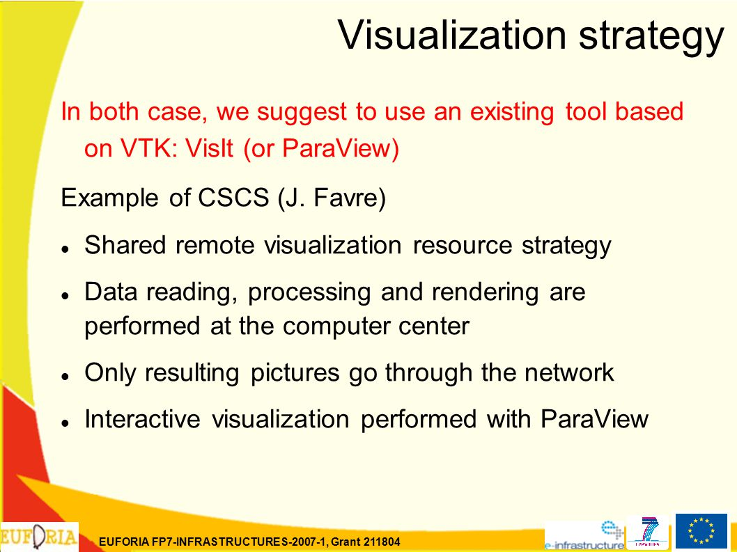 EUFORIA FP7-INFRASTRUCTURES-2007-1, Grant 211804 Visualization strategy In both case, we suggest to use an existing tool based on VTK: VisIt (or ParaView) Example of CSCS (J.