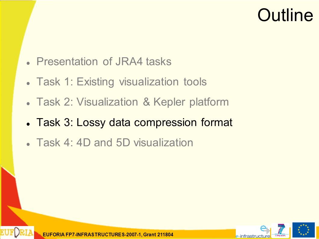 EUFORIA FP7-INFRASTRUCTURES-2007-1, Grant 211804 Outline Presentation of JRA4 tasks Task 1: Existing visualization tools Task 2: Visualization & Kepler platform Task 3: Lossy data compression format Task 4: 4D and 5D visualization