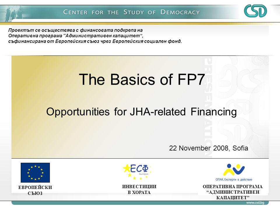 The Basics of FP7 ОПЕРАТИВНА ПРОГРАМА АДМИНИСТРАТИВЕН КАПАЦИТЕТ ЕВРОПЕЙСКИ СЪЮЗ ИНВЕСТИЦИИ В ХОРАТА Проектът се осъществява с финансовата подкрепа на Оперативна програма Административен капацитет , съфинансирана от Европейския съюз чрез Европейския социален фонд.