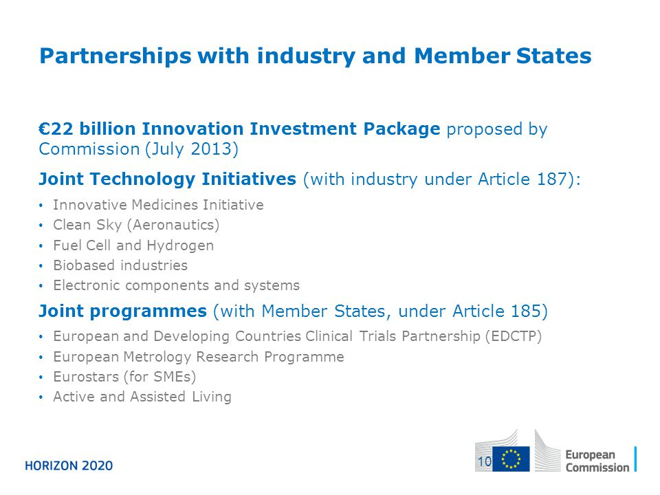 Partnerships with industry and Member States €22 billion Innovation Investment Package proposed by Commission (July 2013) Joint Technology Initiatives
