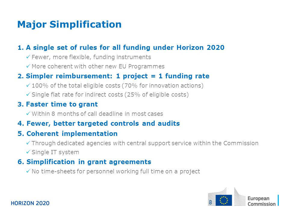 Major Simplification 1. A single set of rules for all funding under Horizon 2020 Fewer, more flexible, funding instruments More coherent with other ne
