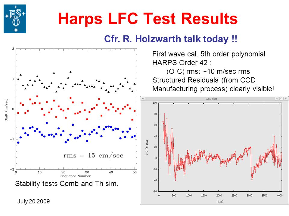July 20 200927 Harps LFC Test Results First wave cal.