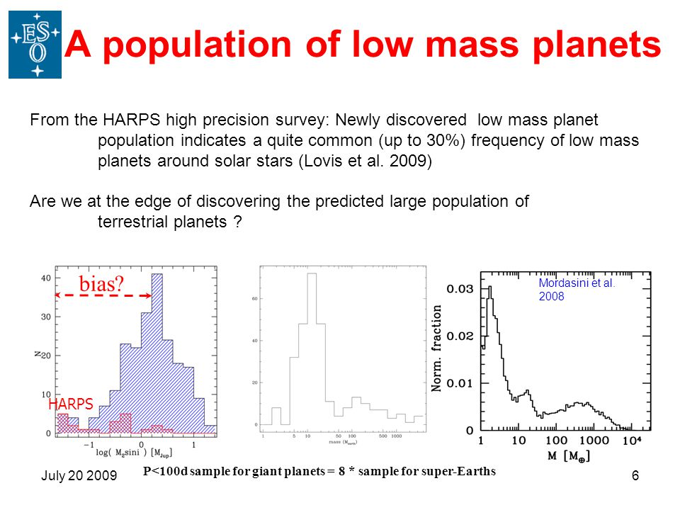 July 20 20096 A population of low mass planets From the HARPS high precision survey: Newly discovered low mass planet population indicates a quite common (up to 30%) frequency of low mass planets around solar stars (Lovis et al.