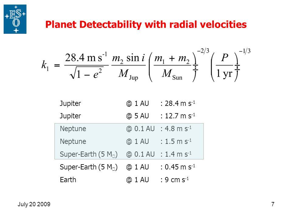 July 20 20097 Jupiter @ 1 AU : 28.4 m s -1 Jupiter @ 5 AU : 12.7 m s -1 Neptune @ 0.1 AU : 4.8 m s -1 Neptune @ 1 AU : 1.5 m s -1 Super-Earth (5 M ⊕ )