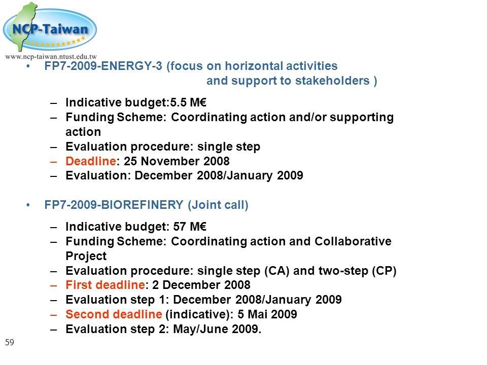 59 FP7-2009-ENERGY-3 (focus on horizontal activities and support to stakeholders ) –Indicative budget:5.5 M€ –Funding Scheme: Coordinating action and/