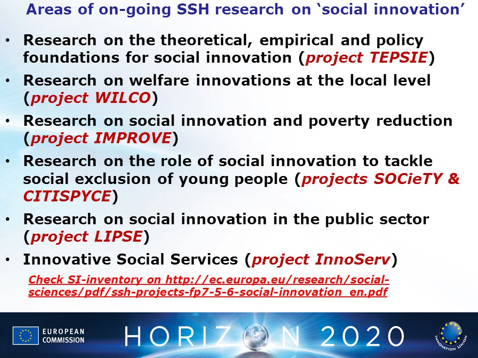 Research on the theoretical, empirical and policy foundations for social innovation (project TEPSIE) Research on welfare innovations at the local leve