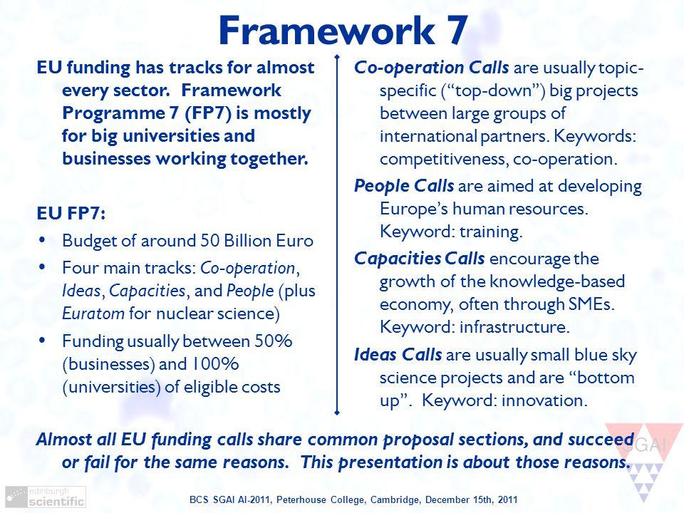 BCS SGAI AI-2011, Peterhouse College, Cambridge, December 15th, 2011 Framework Funding Breakdown