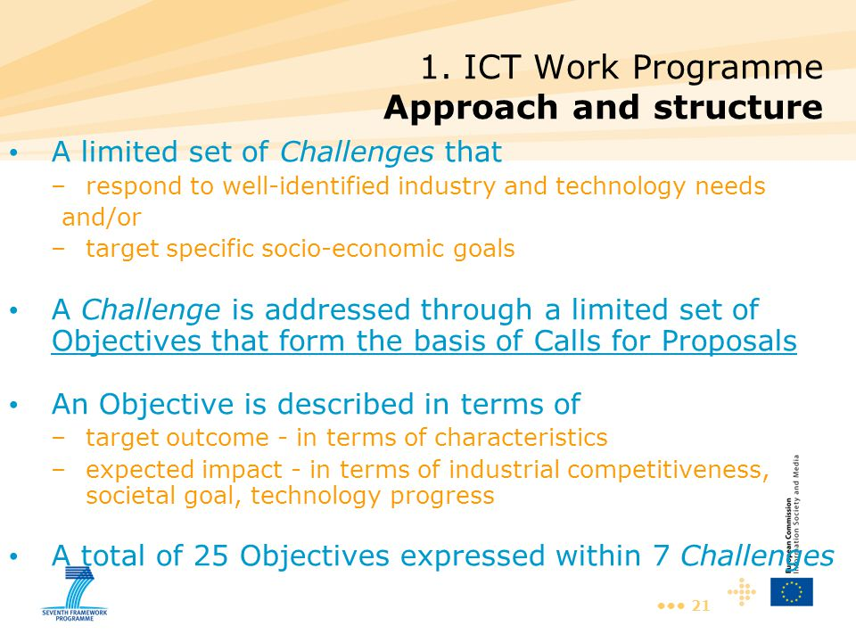 21 1. ICT Work Programme Approach and structure A limited set of Challenges that –respond to well-identified industry and technology needs and/or –tar