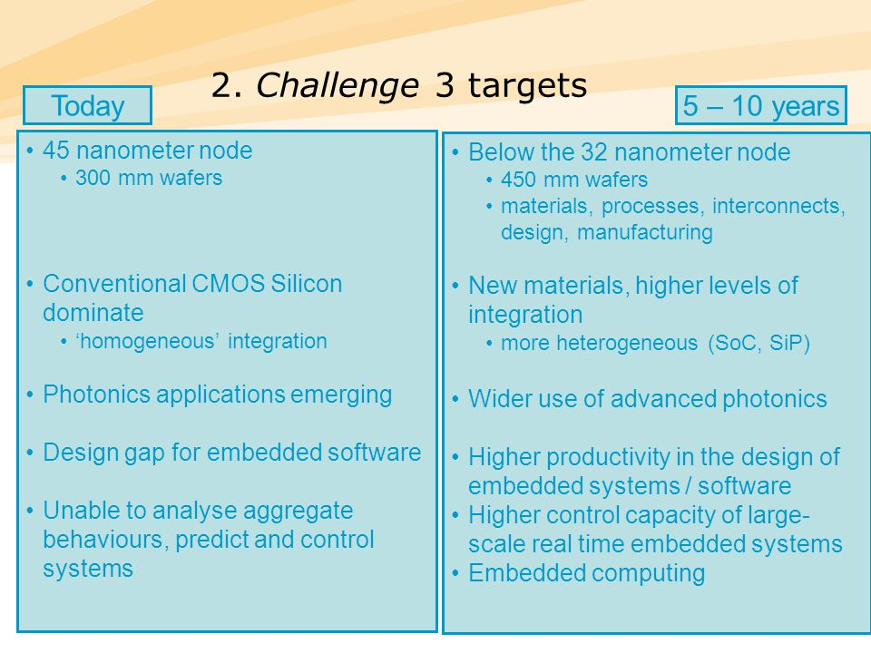25 2. Challenge 3 targets 45 nanometer node 300 mm wafers Conventional CMOS Silicon dominate 'homogeneous' integration Photonics applications emerging