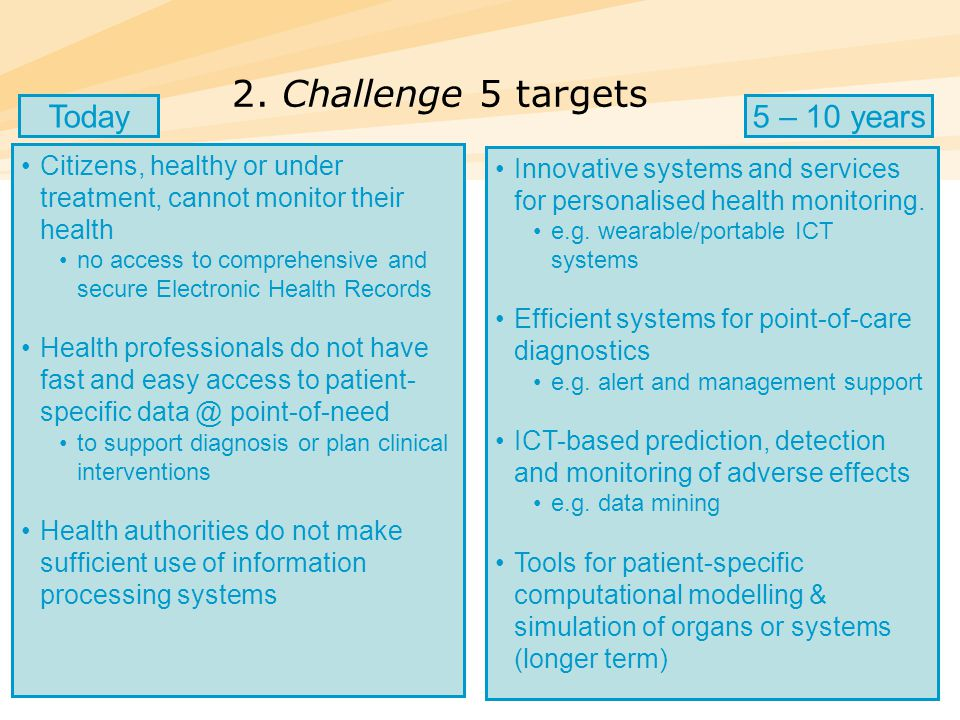 27 2. Challenge 5 targets Citizens, healthy or under treatment, cannot monitor their health no access to comprehensive and secure Electronic Health Re