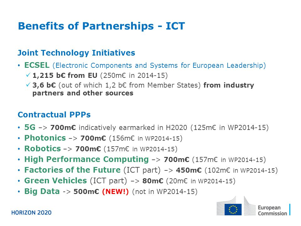 Benefits of Partnerships - ICT Joint Technology Initiatives ECSEL (Electronic Components and Systems for European Leadership) 1,215 b€ from EU (250m€