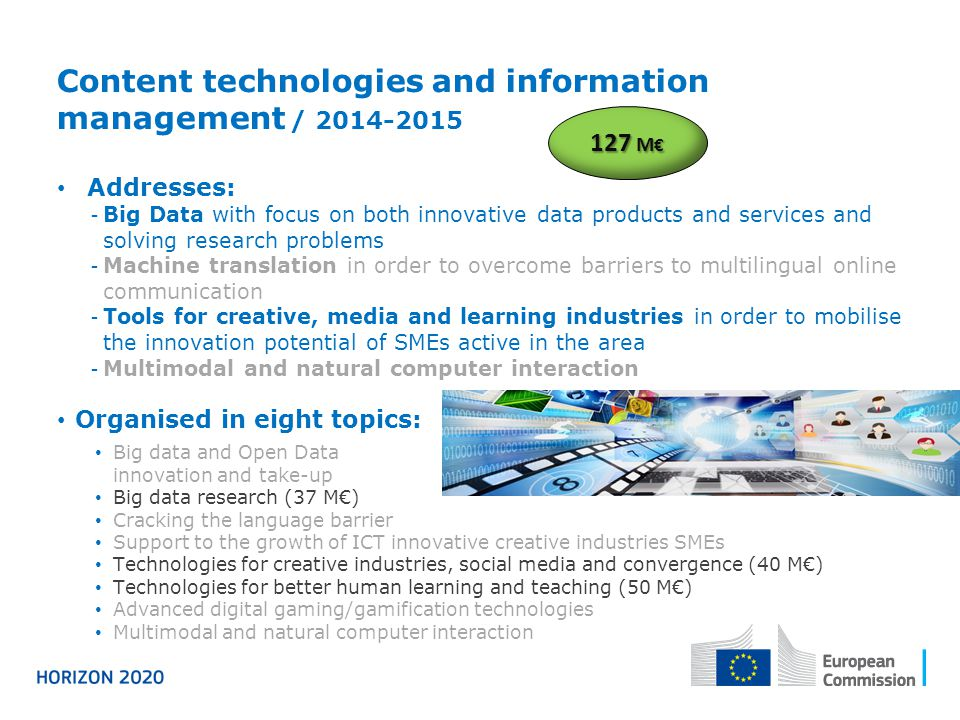 Content technologies and information management / 2014-2015 Addresses: - Big Data with focus on both innovative data products and services and solving