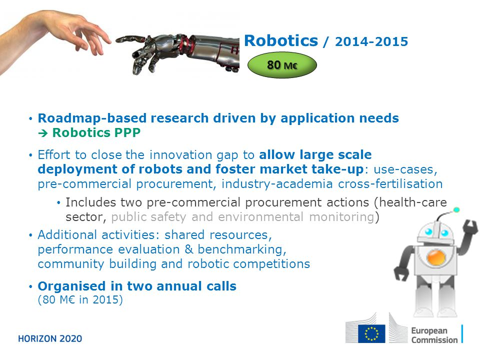 Robotics / 2014-2015 Roadmap-based research driven by application needs  Robotics PPP Effort to close the innovation gap to allow large scale deploym