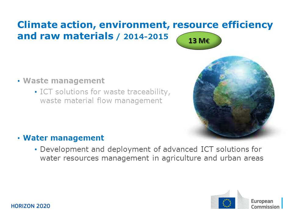 Climate action, environment, resource efficiency and raw materials / 2014-2015 Waste management ICT solutions for waste traceability, waste material f