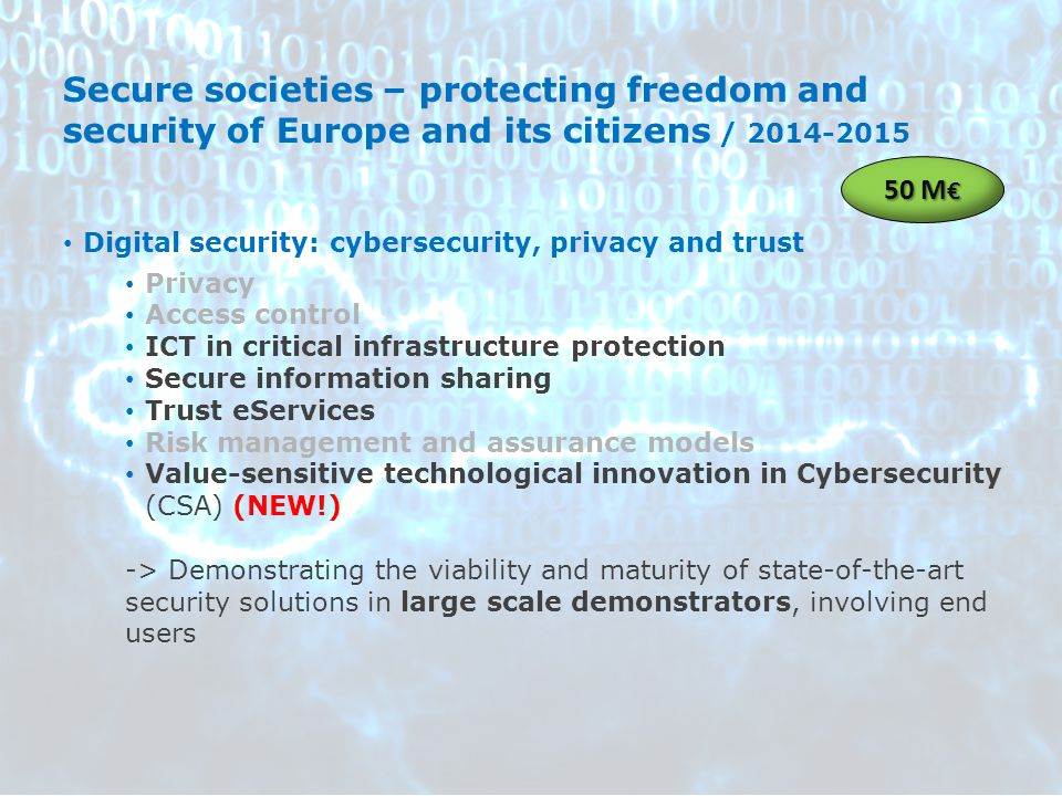 Secure societies – protecting freedom and security of Europe and its citizens / 2014-2015 Digital security: cybersecurity, privacy and trust Privacy A