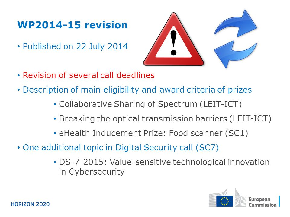 WP2014-15 revision Published on 22 July 2014 Revision of several call deadlines Description of main eligibility and award criteria of prizes Collabora