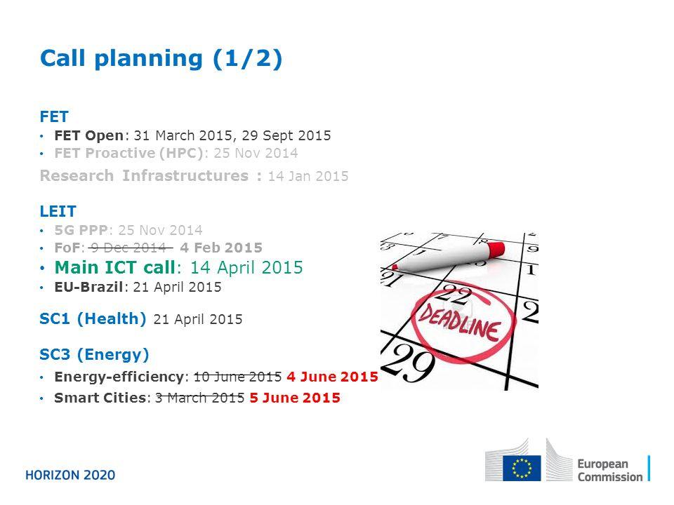 Call planning (1/2) FET FET Open: 31 March 2015, 29 Sept 2015 FET Proactive (HPC): 25 Nov 2014 Research Infrastructures : 14 Jan 2015 LEIT 5G PPP: 25