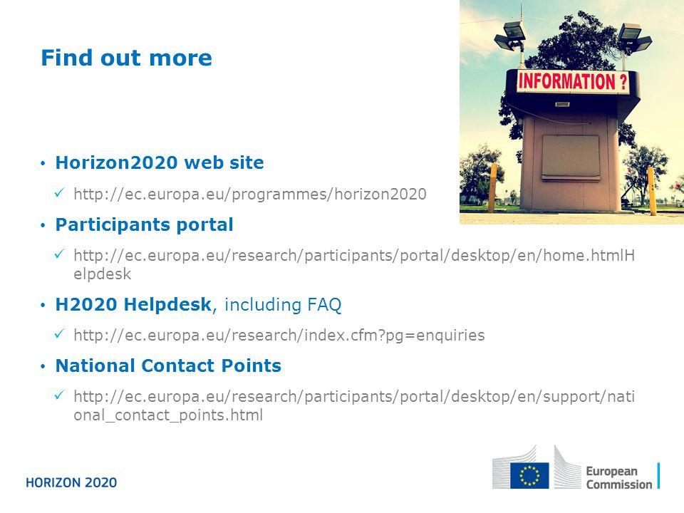 Find out more Horizon2020 web site http://ec.europa.eu/programmes/horizon2020 Participants portal http://ec.europa.eu/research/participants/portal/des