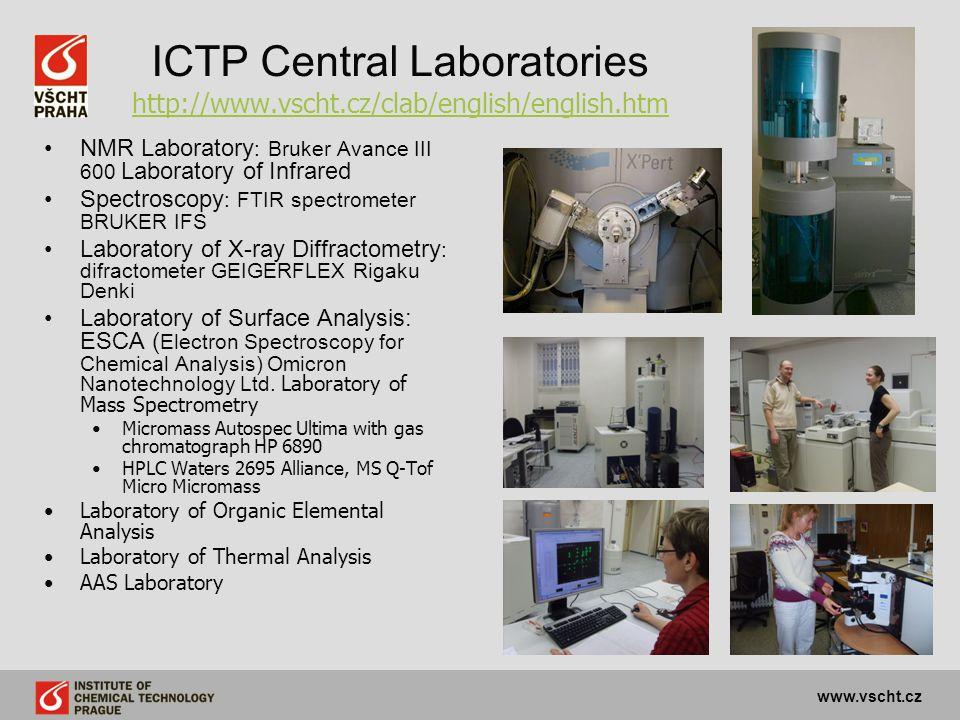 ICTP Central Laboratories http://www.vscht.cz/clab/english/english.htm http://www.vscht.cz/clab/english/english.htm NMR Laboratory : Bruker Avance III 600 Laboratory of Infrared Spectroscopy : FTIR spectrometer BRUKER IFS Laboratory of X-ray Diffractometry : difractometer GEIGERFLEX Rigaku Denki Laboratory of Surface Analysis: ESCA ( Electron Spectroscopy for Chemical Analysis) Omicron Nanotechnology Ltd.