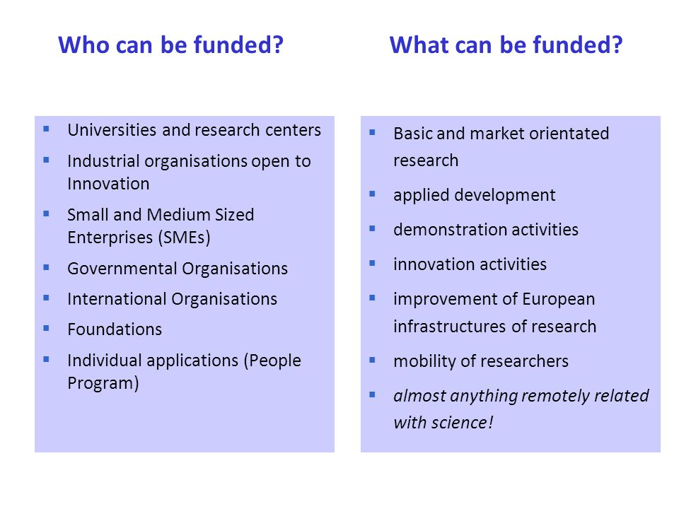  Universities and research centers  Industrial organisations open to Innovation  Small and Medium Sized Enterprises (SMEs)  Governmental Organisat