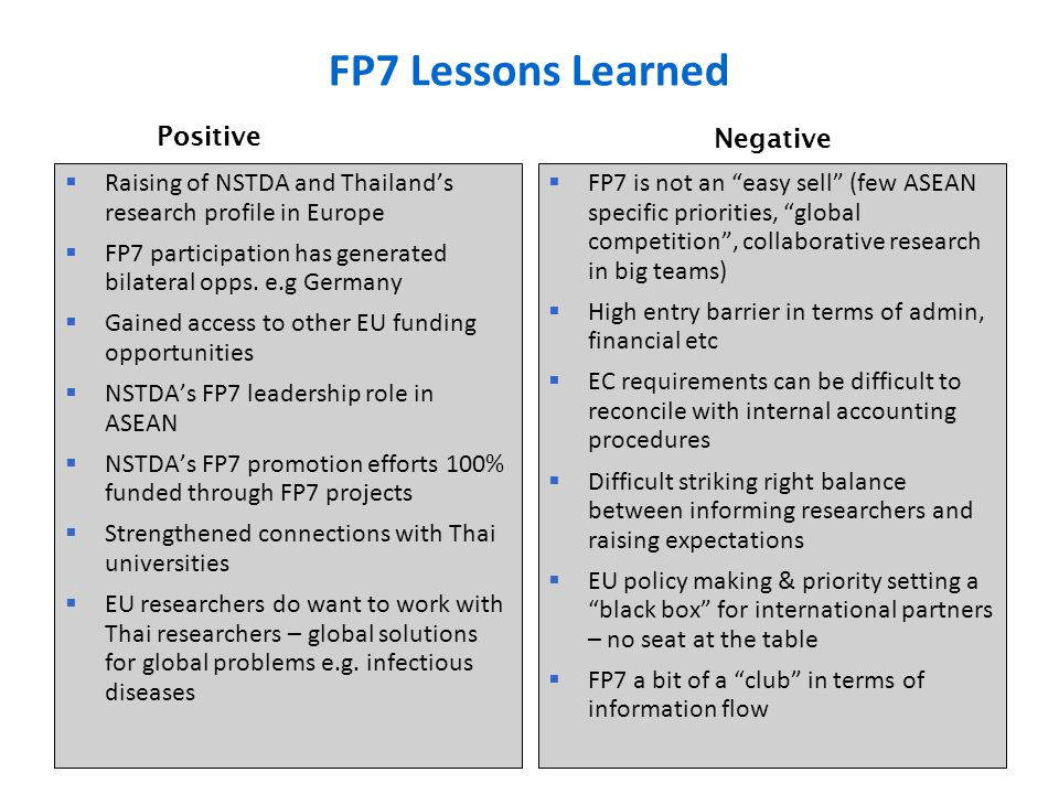 FP7 Lessons Learned  Raising of NSTDA and Thailand's research profile in Europe  FP7 participation has generated bilateral opps. e.g Germany  Gaine