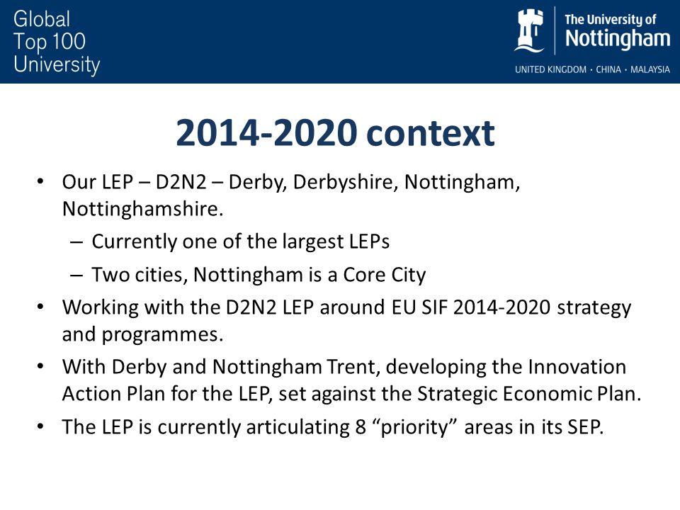 2014-2020 context Our LEP – D2N2 – Derby, Derbyshire, Nottingham, Nottinghamshire.
