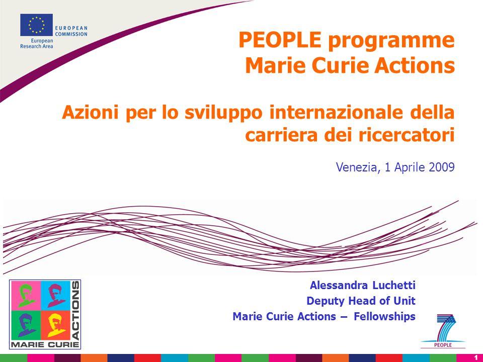 1 PEOPLE programme Marie Curie Actions Azioni per lo sviluppo internazionale della carriera dei ricercatori Venezia, 1 Aprile 2009 Alessandra Luchetti Deputy Head of Unit Marie Curie Actions – Fellowships