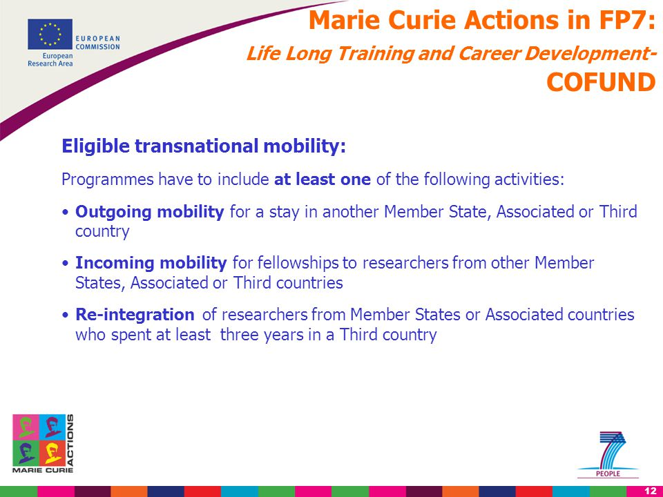 12 Marie Curie Actions in FP7: Life Long Training and Career Development- COFUND Eligible transnational mobility: Programmes have to include at least one of the following activities: Outgoing mobility for a stay in another Member State, Associated or Third country Incoming mobility for fellowships to researchers from other Member States, Associated or Third countries Re-integration of researchers from Member States or Associated countries who spent at least three years in a Third country