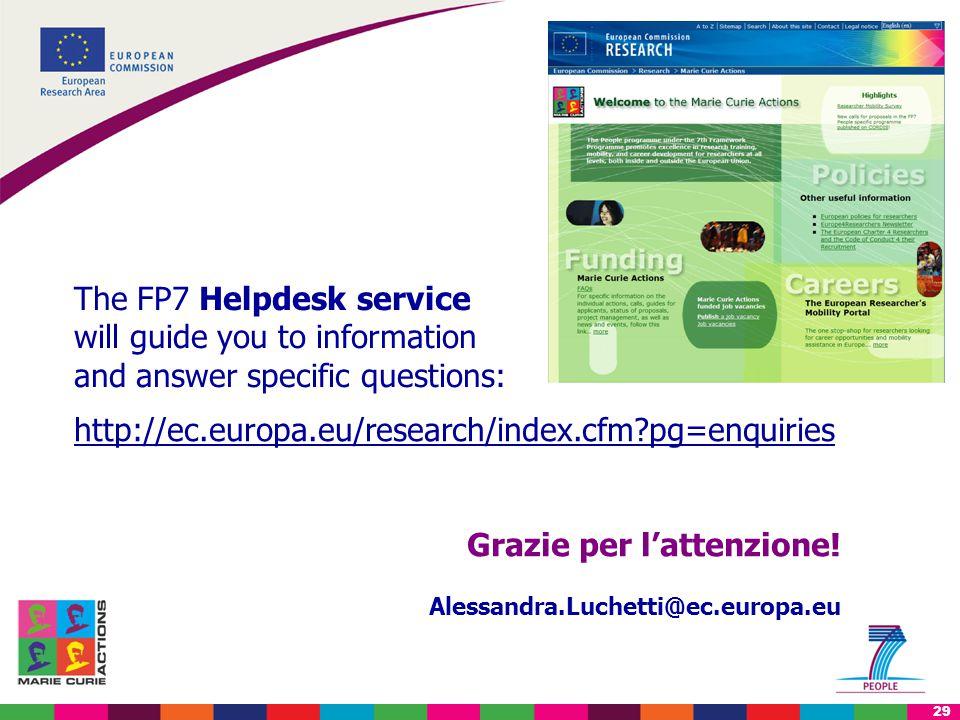 29 http://ec.europa.eu/research/index.cfm?pg=enquiries Grazie per l'attenzione.