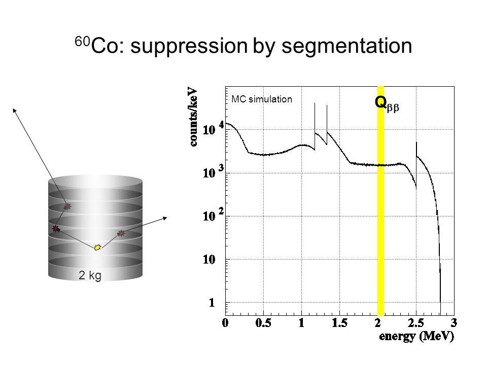 2 kg 60 Co: suppression by segmentation Q  MC simulation