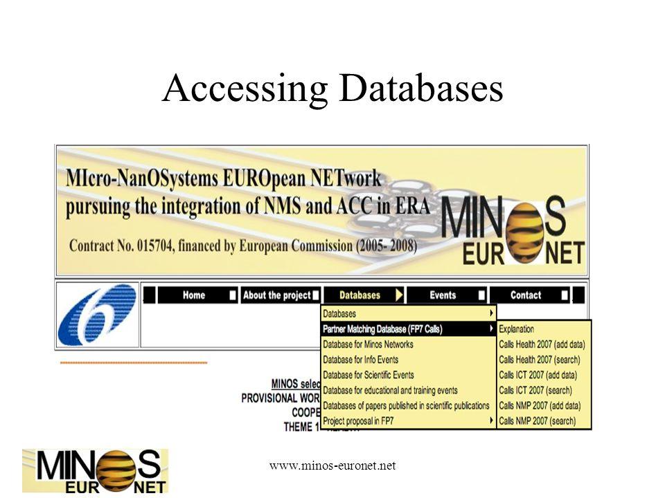 www.minos-euronet.net Accessing Databases
