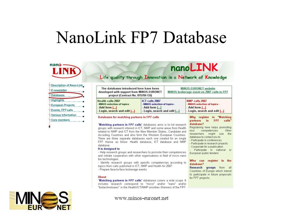 www.minos-euronet.net NanoLink FP7 Database