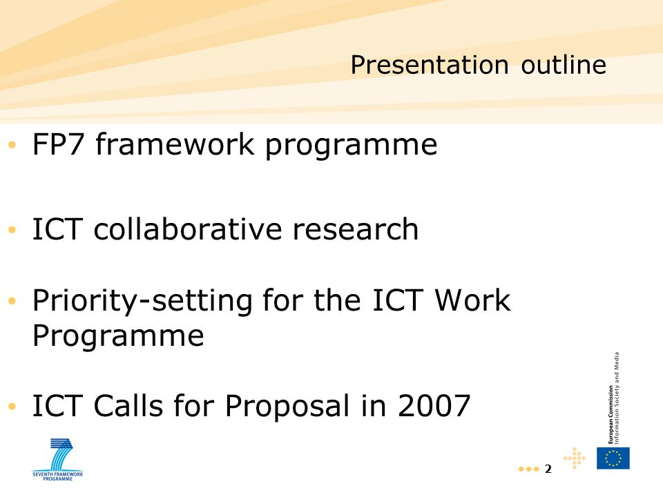 13 Work Programme approach and structure A limited set of Challenges aiming at –overcoming technology roadblocks to achieve specific characteristics, and/or –end-to-end systems targeting specific socio-economic goals A Challenge is addressed through a limited set of Objectives that form the basis of Calls for Proposals An Objective is described in terms of –target outcome - in terms of characteristics –expected impact - in terms of industrial competitiveness, societal goal, technology progress etc.