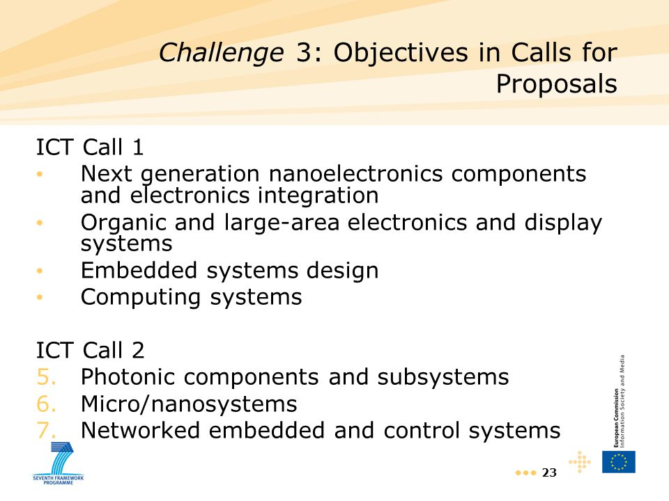 23 ICT Call 1 Next generation nanoelectronics components and electronics integration Organic and large-area electronics and display systems Embedded s