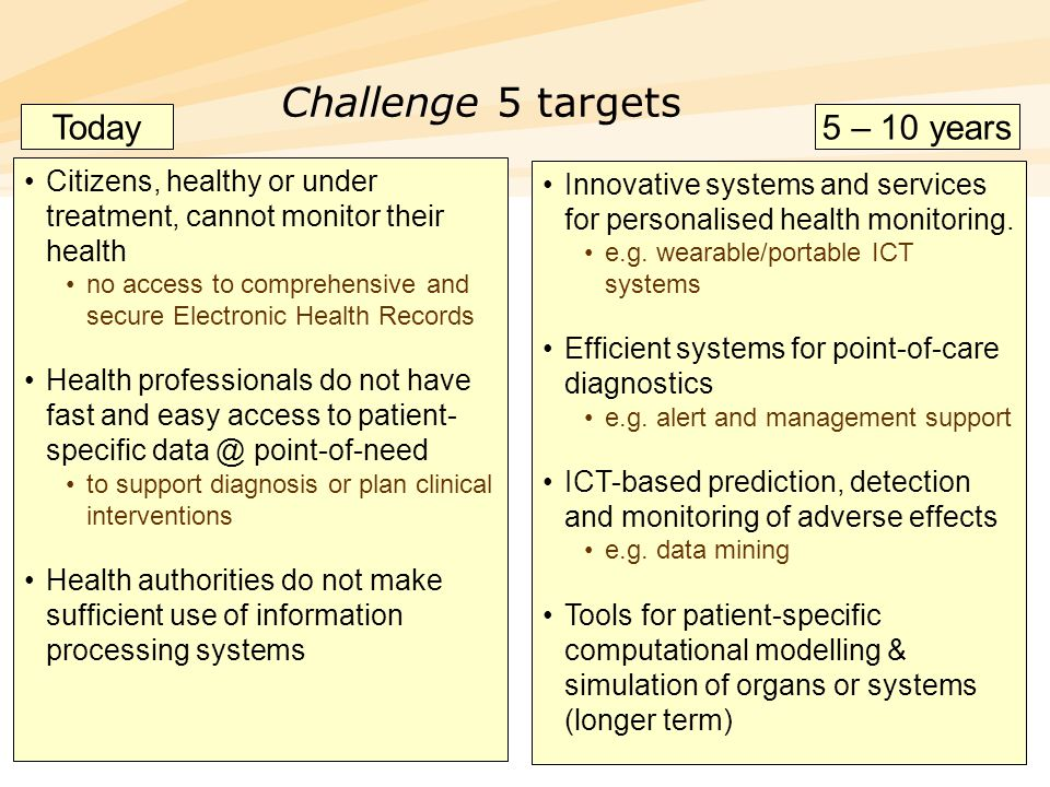 28 Challenge 5 targets Citizens, healthy or under treatment, cannot monitor their health no access to comprehensive and secure Electronic Health Recor