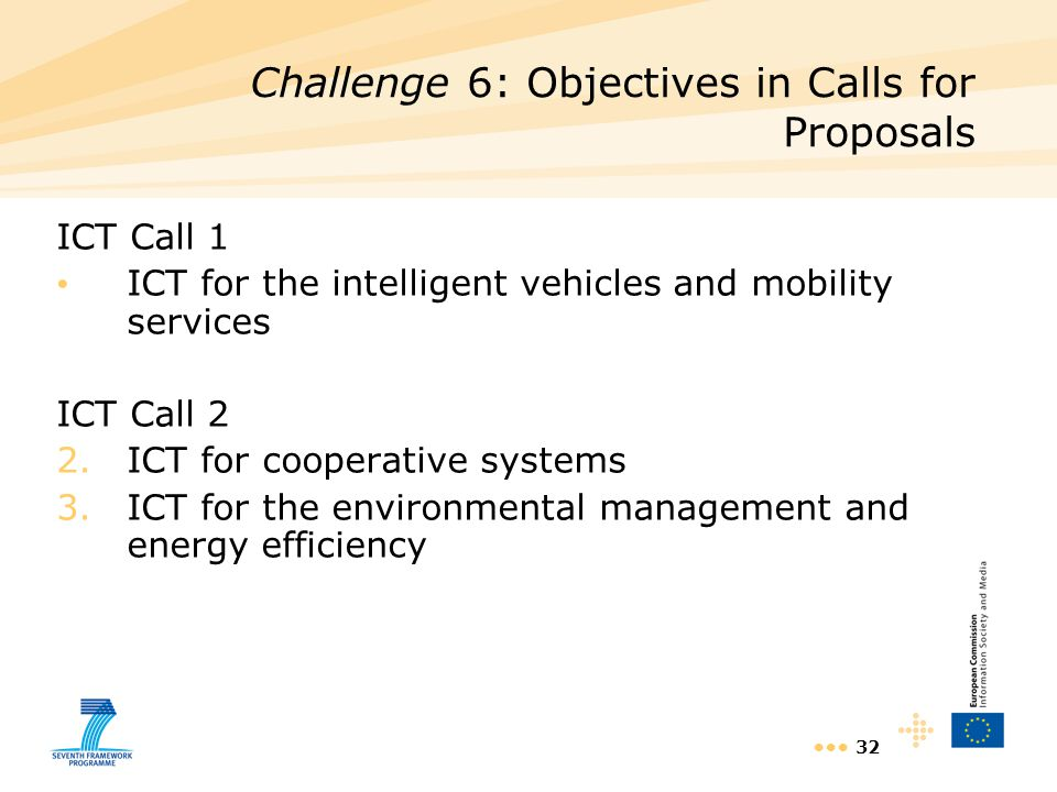 32 ICT Call 1 ICT for the intelligent vehicles and mobility services ICT Call 2 2.ICT for cooperative systems 3.ICT for the environmental management a