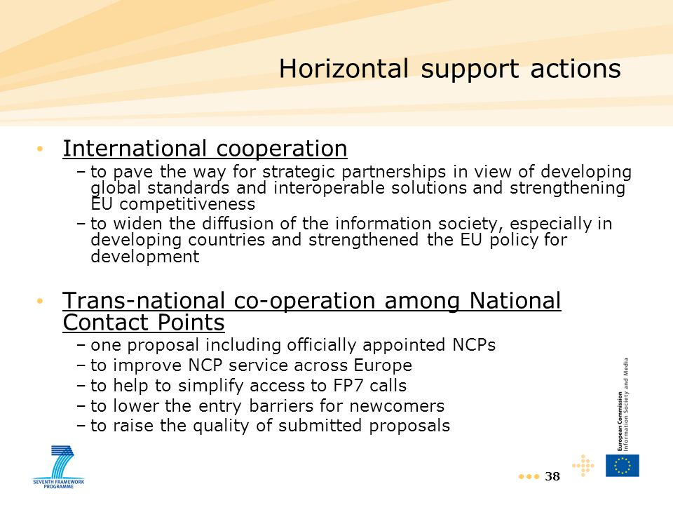 38 International cooperation –to pave the way for strategic partnerships in view of developing global standards and interoperable solutions and streng