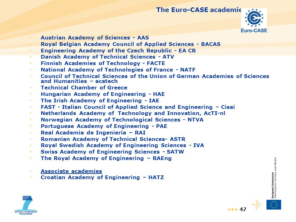 47 The Euro-CASE academies Austrian Academy of Sciences - AAS Royal Belgian Academy Council of Applied Sciences - BACAS Engineering Academy of the Cze