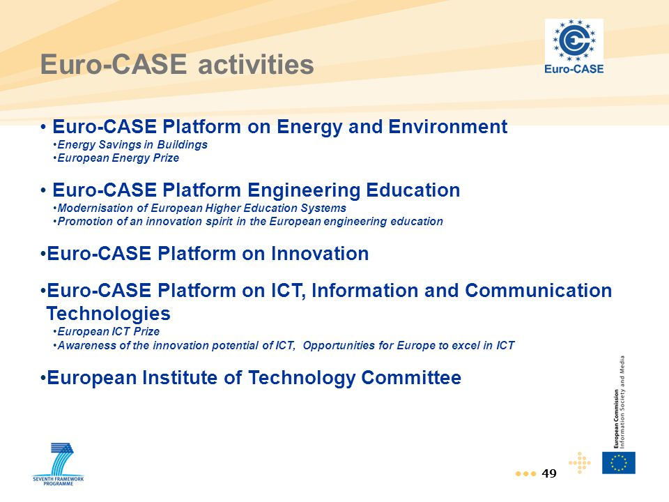 49 Euro-CASE activities Euro-CASE Platform on Energy and Environment Energy Savings in Buildings European Energy Prize Euro-CASE Platform Engineering